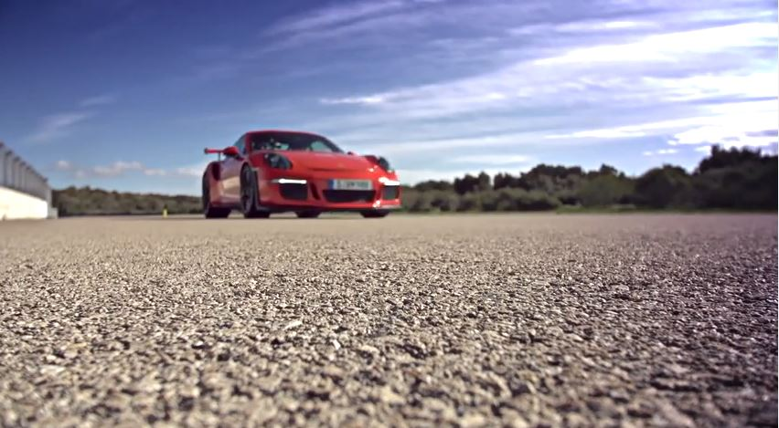 The new Porsche 911 GT3 RS on the Nardo test track.
